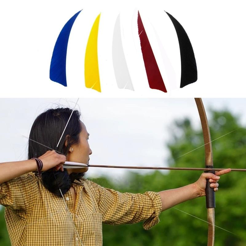 "Details about  /50x 4/"" 5/"" Archery Pfeil Feder Turkey Nature Fletches Fletching Bow Striped"