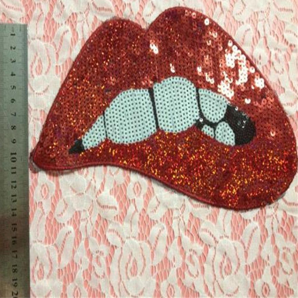 Eisen auf Patches für Bekleidung Red Pailletten Lippen DIY Motif Applikation ZP
