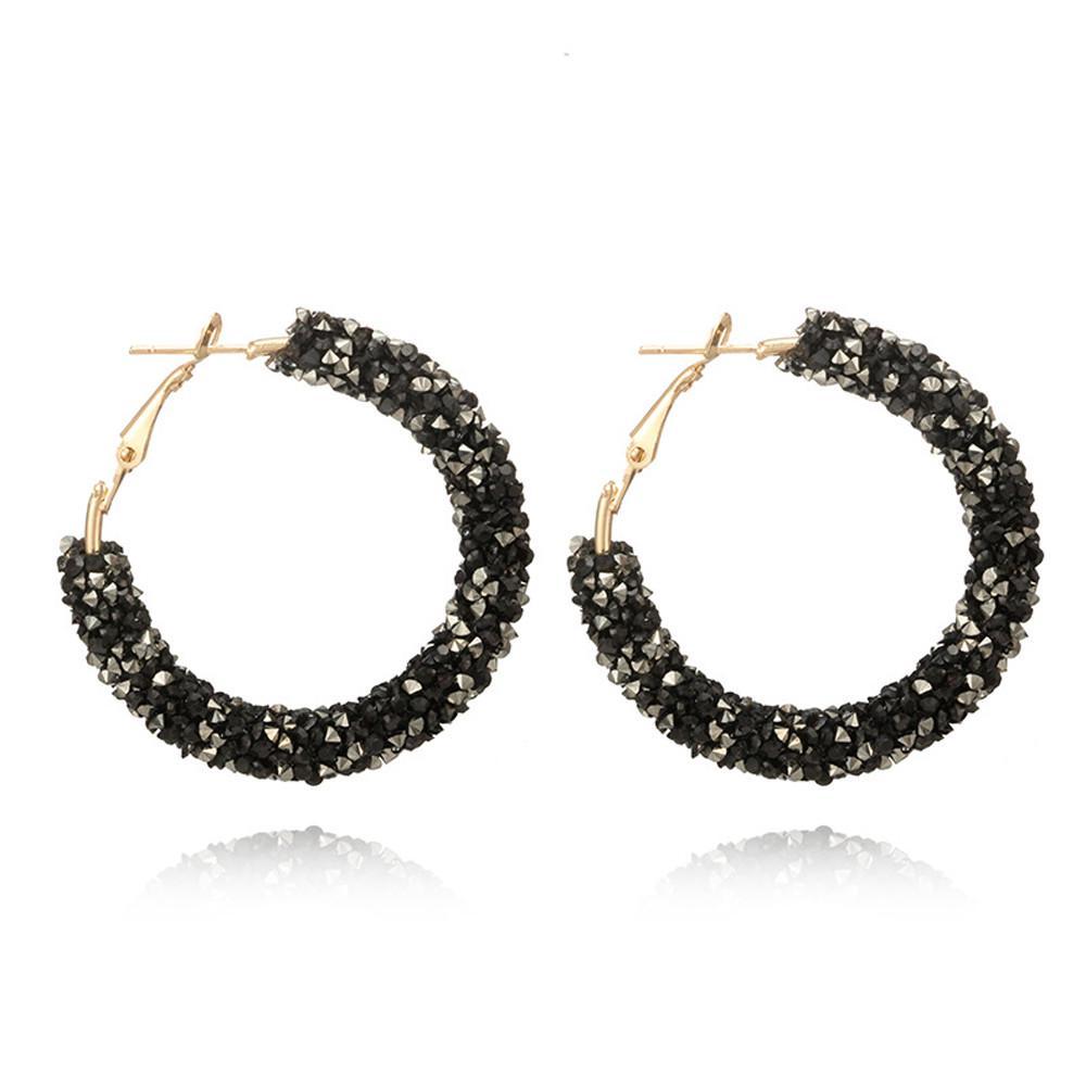 Моды личности блестящий кристалл обруч серьги большой круглый уха – купить по низким ценам в интернет-магазине Joom