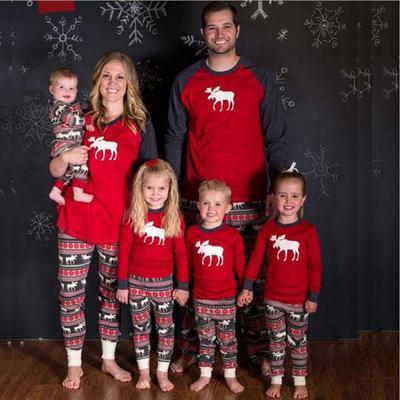 Семейное Рождество пижамы набор оленей печати Детские ребенка женщины  мужчины длинным рукавом пижамы daaf1f9633818