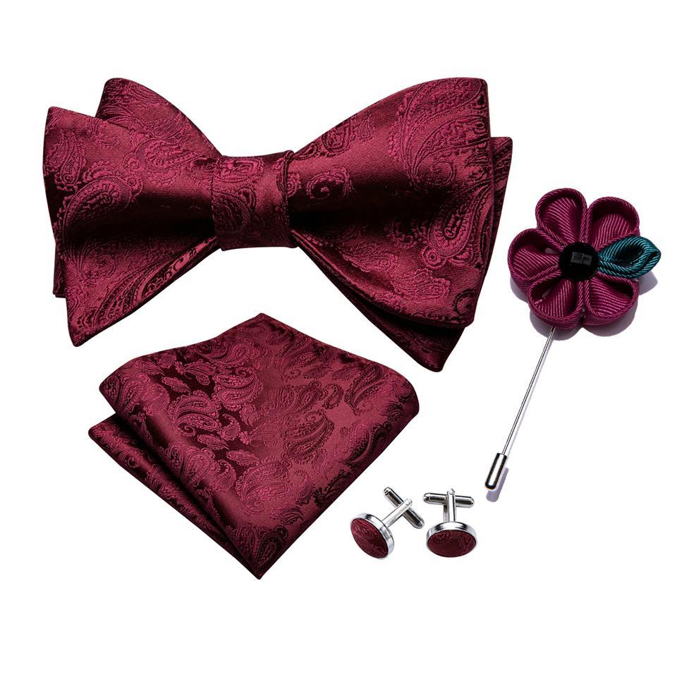 Men Silk Novelty Self Bow Tie Set Purple Red Bowtie Pocket Square Cufflinks