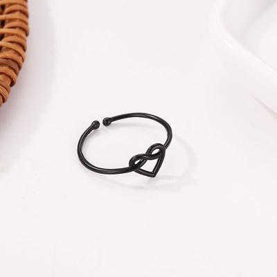 1aKnotted Ring Female Simple New Hollow Love Heart Ring Heart Heart Ring