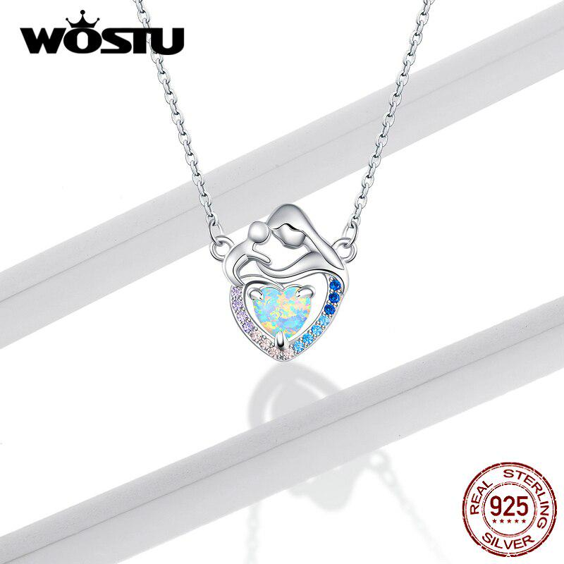 Radiant 925 Sterling Silver Pendant Necklace CZ Choker Chain Women Jewelry Gift