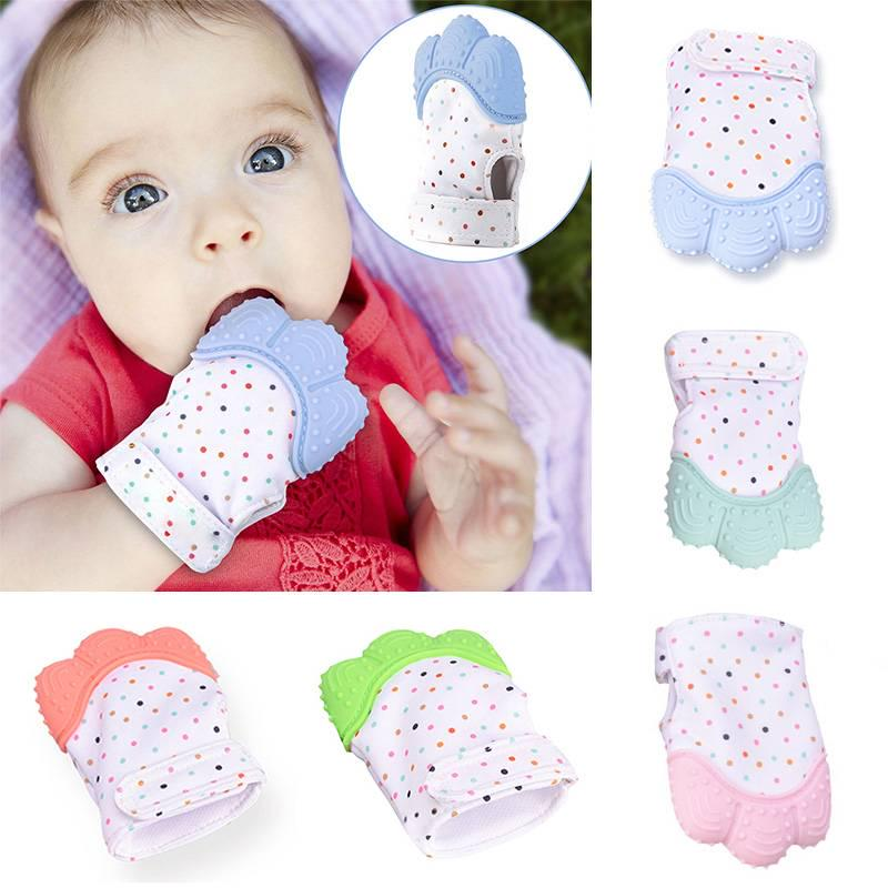 for One SizeWinter Xmas Baby Silicone Mitts Teething Mitten Cartoon Shaped Glove Soft Teether Janly Clearance Sale 0-24 Months Baby Care A