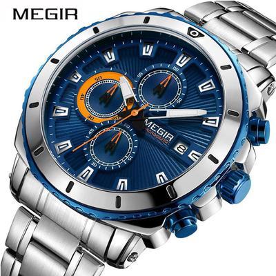 Chronograph Quartz Men Watch 2075G Luxury Brand Stainless Steel Business Men Clock Hour Time