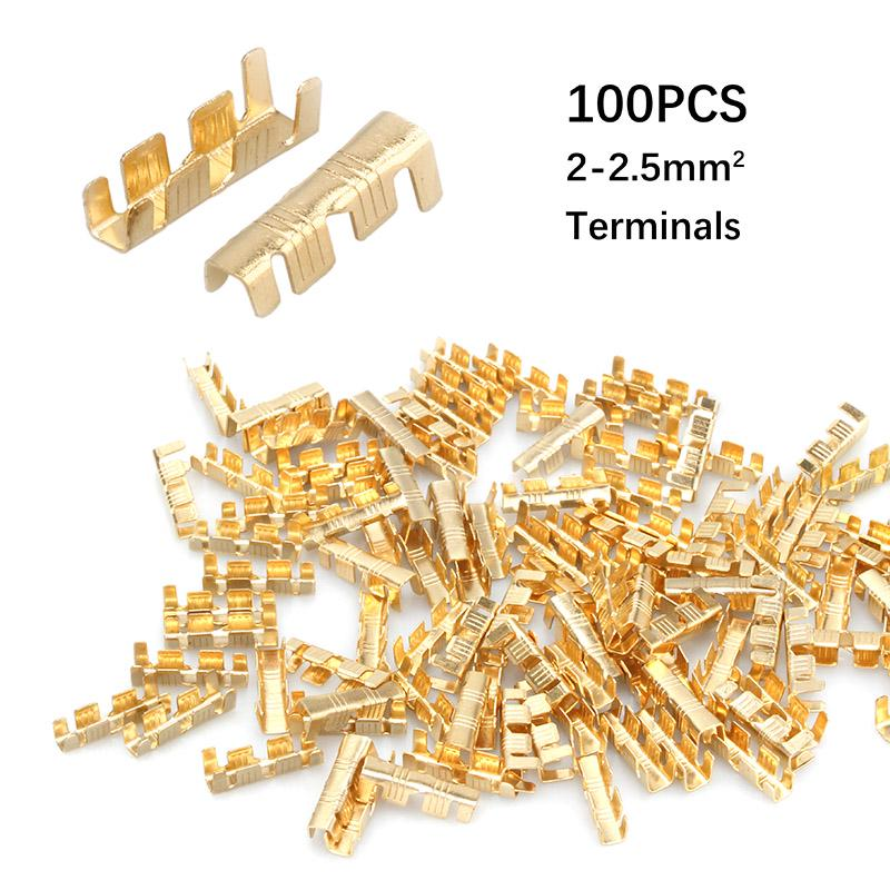 100Pcs Quick Connect Wiring Terminals Brass Crimp Terminals 0.5-1.5mm Square inm