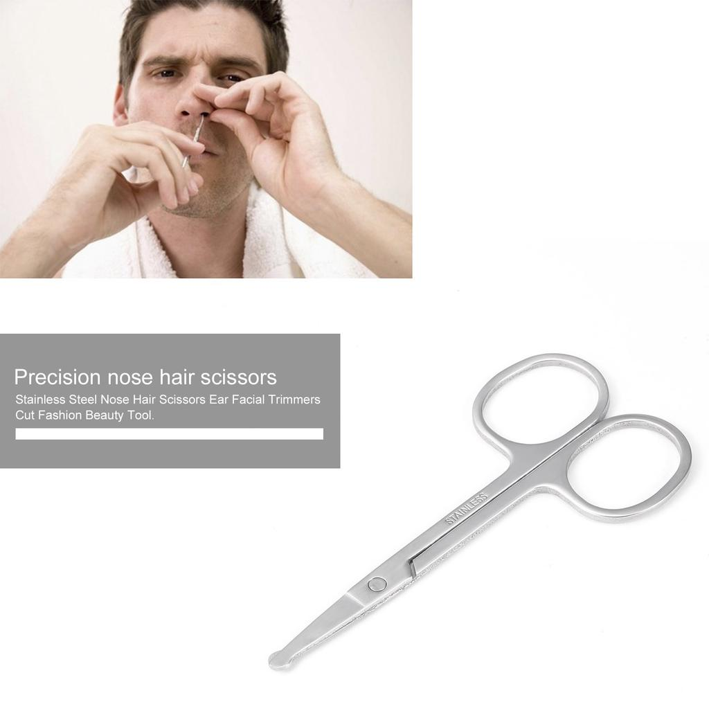 Stainless Steel Nose Hair Scissors Ear Facial Trimmers Cut Fashion Beauty  Tool BEAT