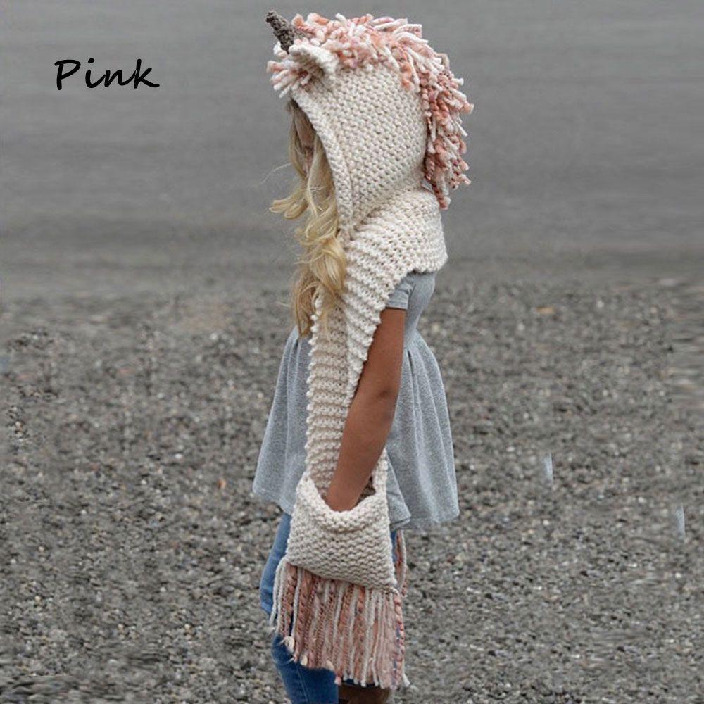 gama completa de especificaciones original de costura caliente nuevo autentico Sombrero con bufanda accesorios gorro de bebe unicornio sombrero de lana  tejida chal con capucha
