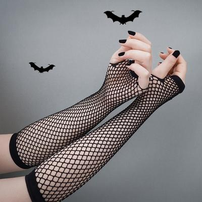 1Pair Black Mesh Fishnet Gloves Wedding Party Disco Dance Costume Cosplay Performance Long Mittens