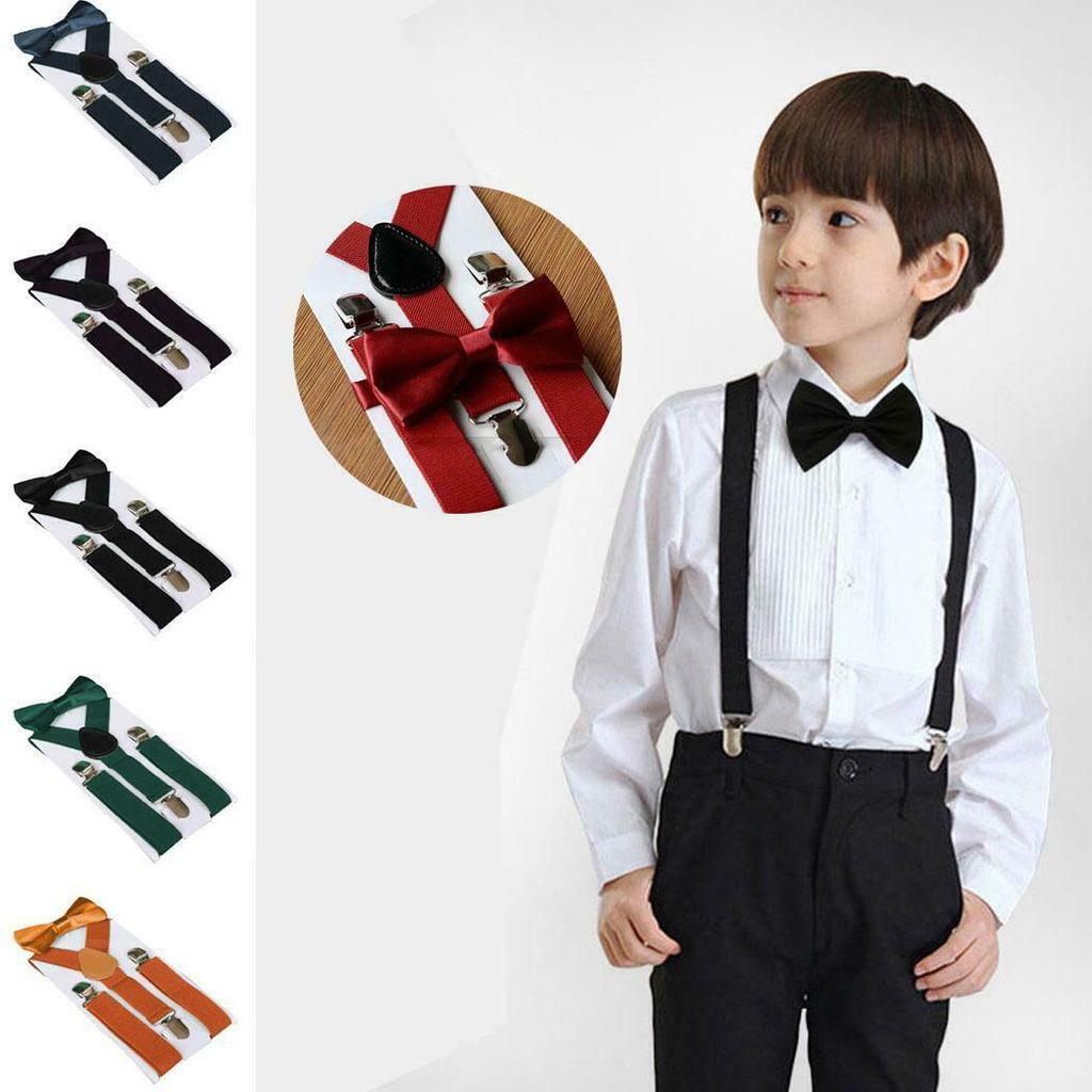 Braces for Children Suspenders With Bowtie Bow Tie Set Matching Ties Outfits Suspender Black