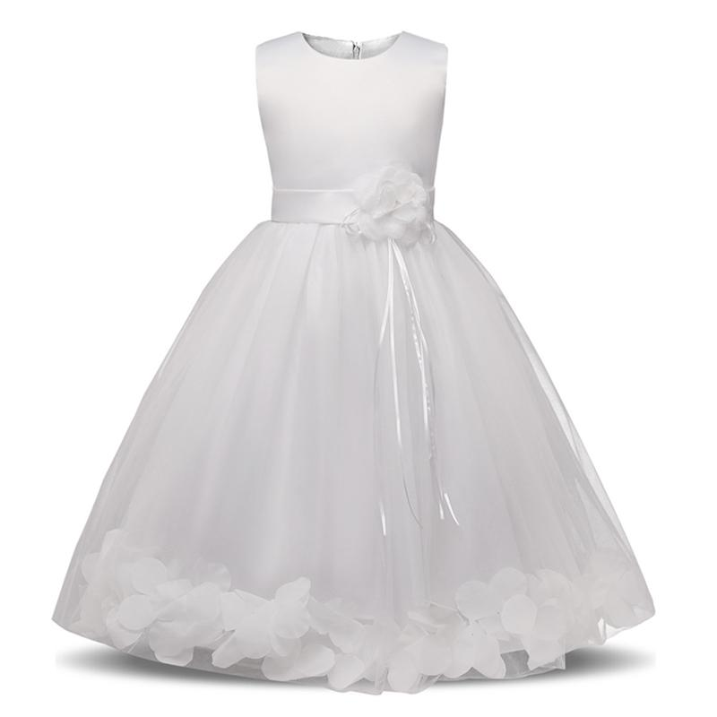 Princess Lace Pleated Dress Kids Flower Girls Rose Bow Birthday Party Dress 3-8Y
