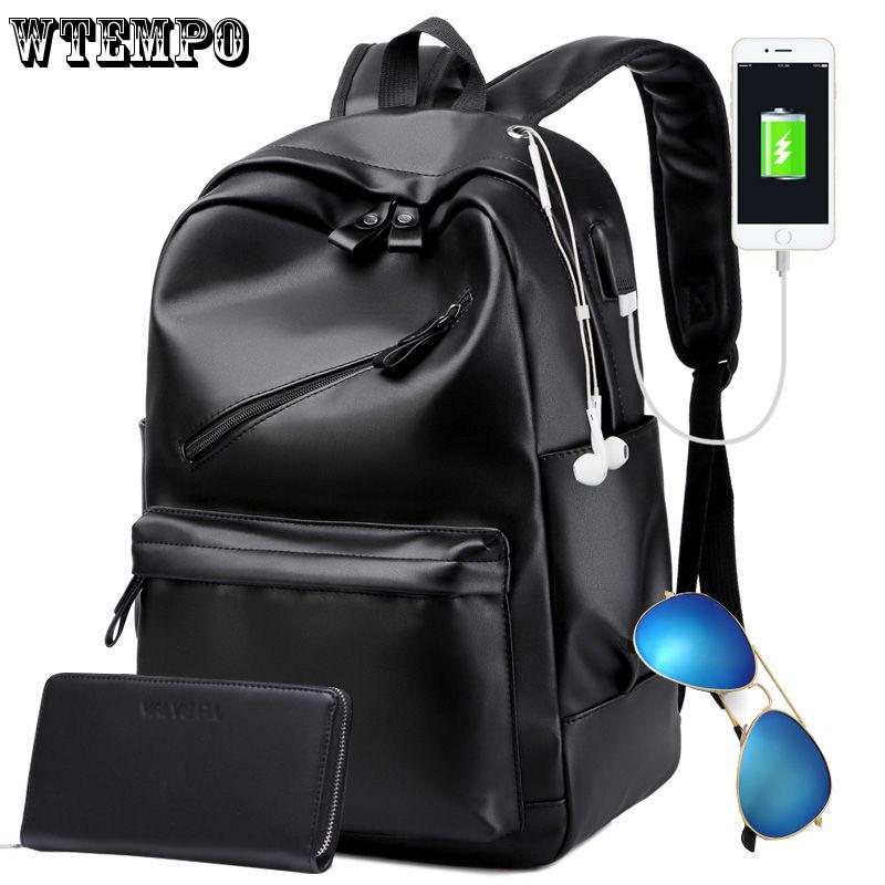 Multipurpose Daypacks Backpack Lady Leather Simple Wild College Wind Student Bag Anti-Theft Water-Proof Large Capacity Travel Package