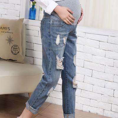 08ecb67991042 Pregnant Woman Maternity Ripped Jeans Pants Nursing Trousers Prop Belly  Legging