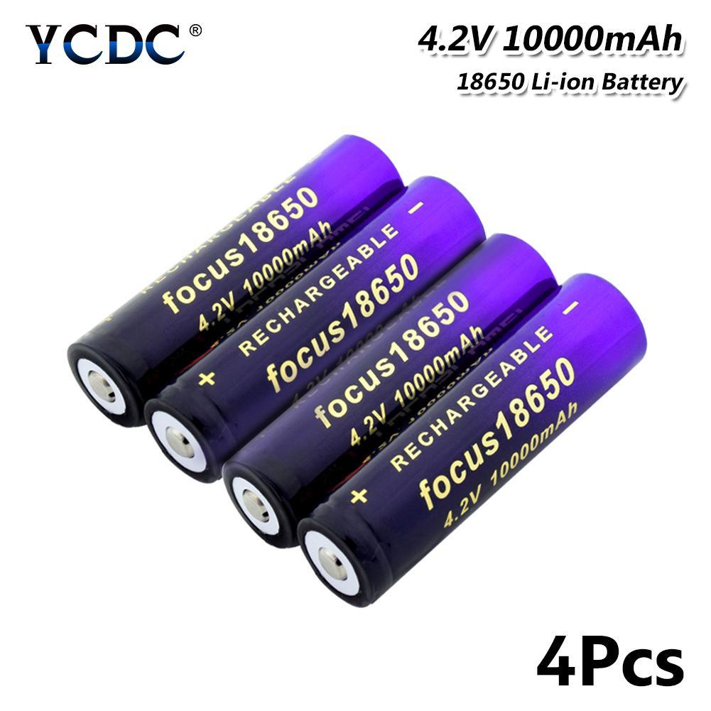 4Pcs 10000mah 18650 Литий перезаряжаемая батарея для фонарика Факел Аккумулятор наяклетки фото