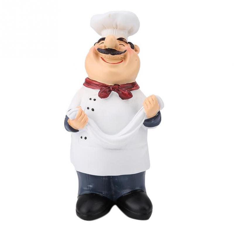 Resin Chef Figurine Figures Ornament Statue Model Cook Cake Coffee Shop Decor