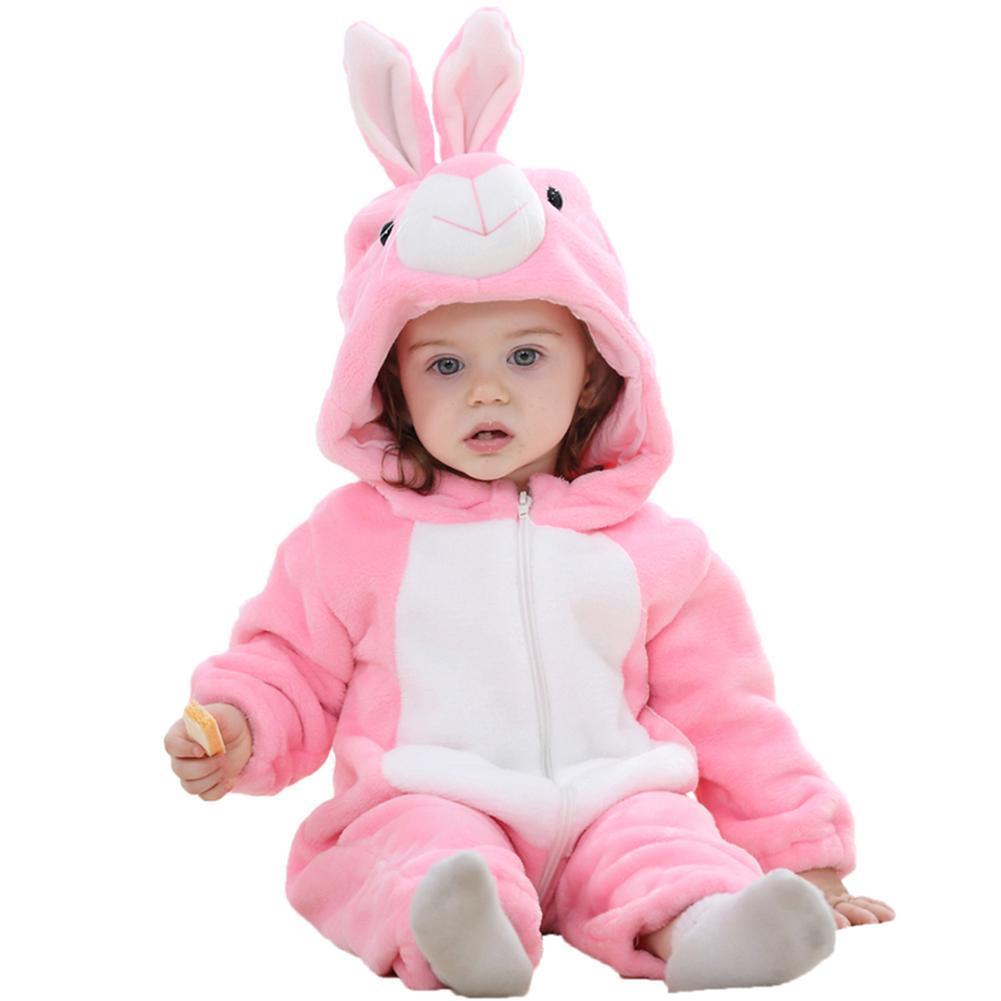 Newborn Baby Cartoon Animal Winter Hooded Rompers Front Zipper Jumpsuit