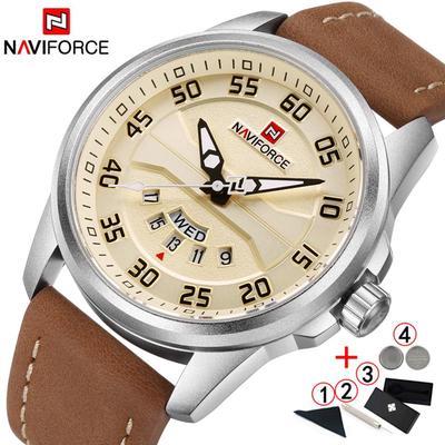 Genuine Leather Men Watch Date Week Sport Mens Watches Top Brand Luxury Military Army Quartz Male Wristwatch