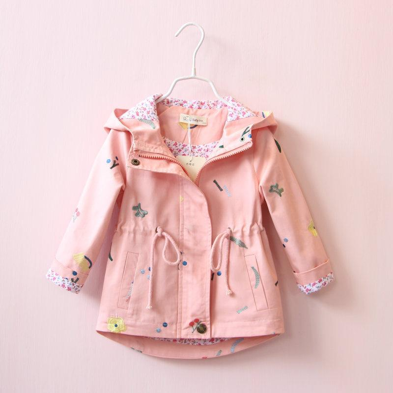 Kids Baby Girls Spring//Autumn Coat Long Sleeve Hooded Wind Coat Floral Jacket