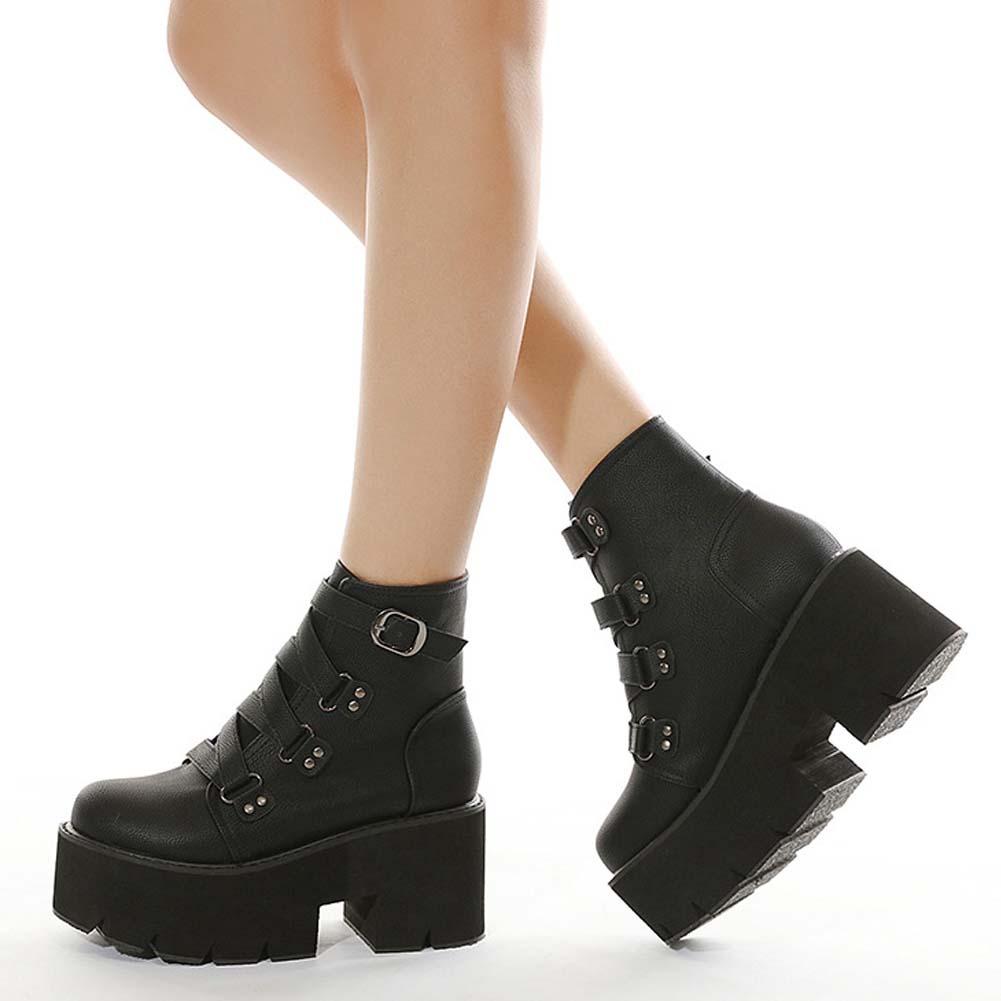 Details about  /Women Platform Rivets Thigh High Boots Stiletto Heel Boots Round Toe Black Shoes