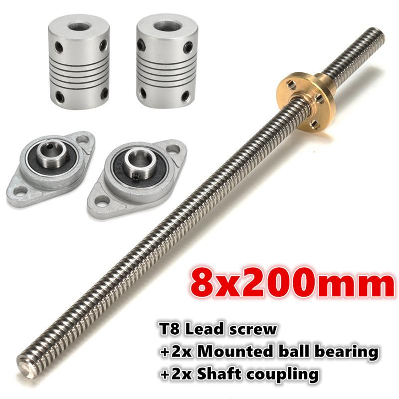 Motor For 3D Print T8 600mm Stainless Steel Lead Screw Coupling Shaft Mounting