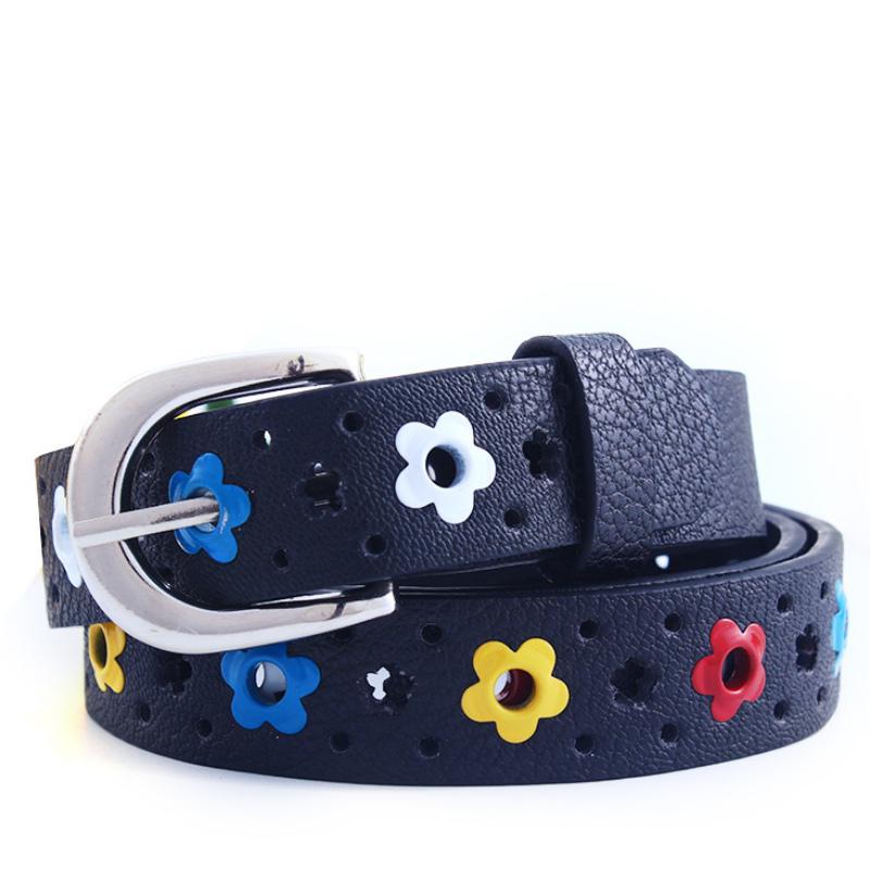 Kids Girls PU Faux Leather Waistband 4 Colors Pin Buckle Belt