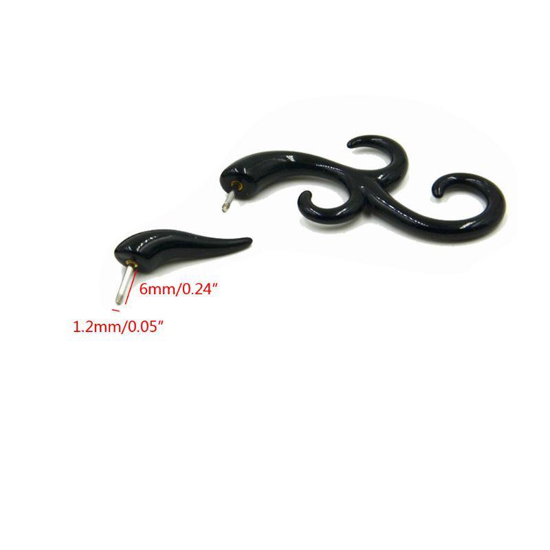 Black acrylic fake spiral tribal shape 6mm
