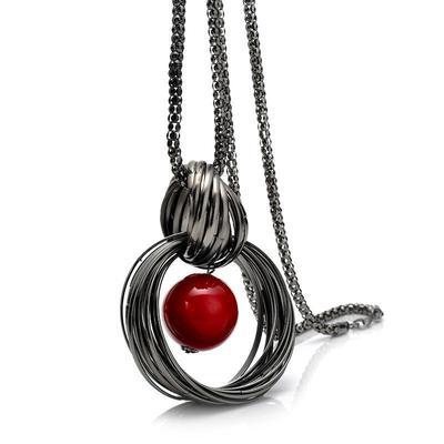 364b55255784 Círculos de collares suéter simulan bola perla colgante collar largo las  mujeres Watchworld