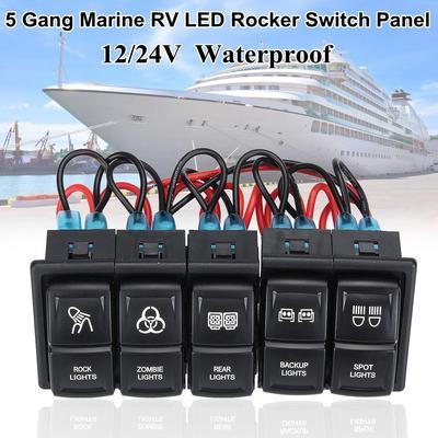 Rocker Switch Laser FUEL PUMP Dual led RED 12V marine boat car