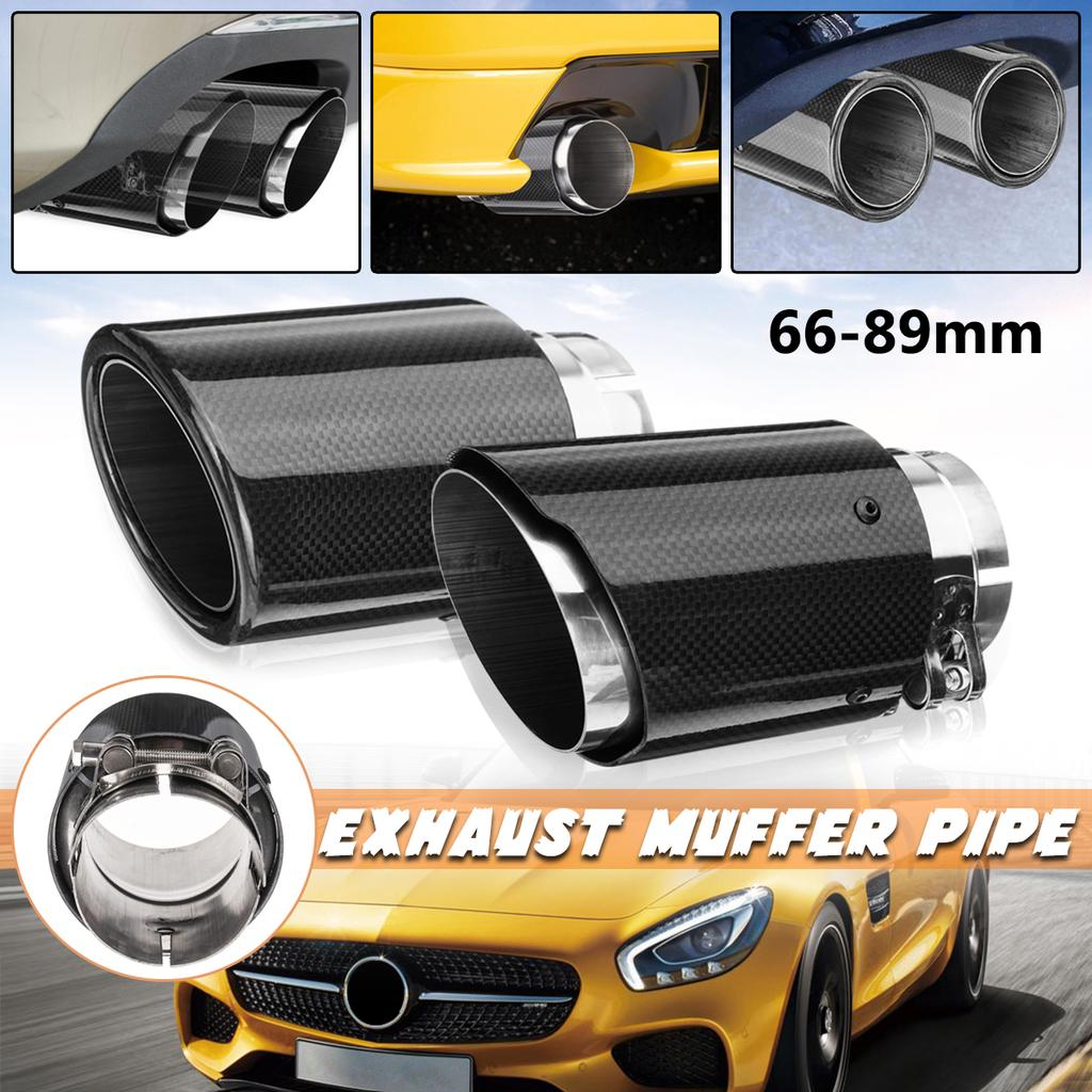Carbon Fiber Exhaust Muffler Pipe Tip 54-89mm For Akrapovic Style Universal Car