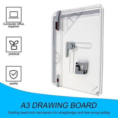 Set of A3 Multifunctional Drawing Boards with Parallel Movement Square Graphic Drawing Box Adjustable Angle Drawing Tool for Architectural Art