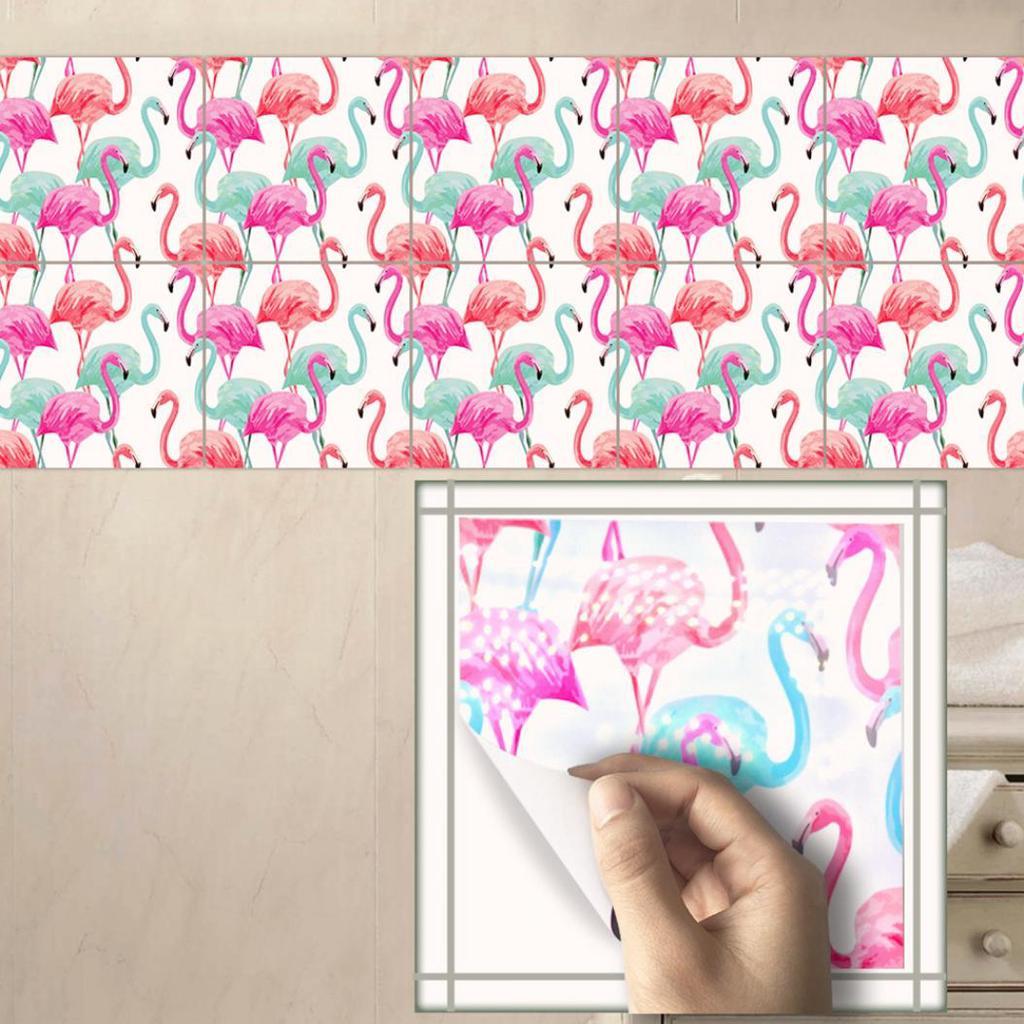 10 Pcs Flamingo Muster Wasserdichte Küche PVC Fliesen Backsplash ...