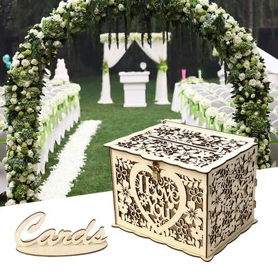 Wooden Elegant Wedding Cards Box Hollow Out Wedding Money Box With