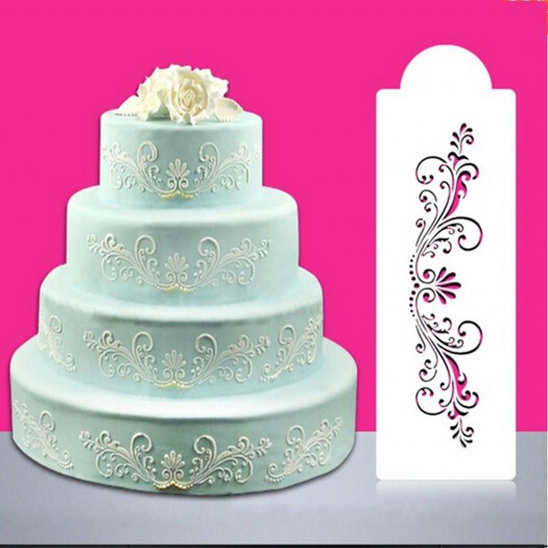 Cake Decorating Tool Fondant Mold Cake Damask Lace Border Cupcake Stencil