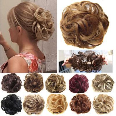 Hair Bun Chignon Ladies Ponytail Hair Extension Bun Hair Piece Scrunchie Elastic Wave Curly Scrunchie