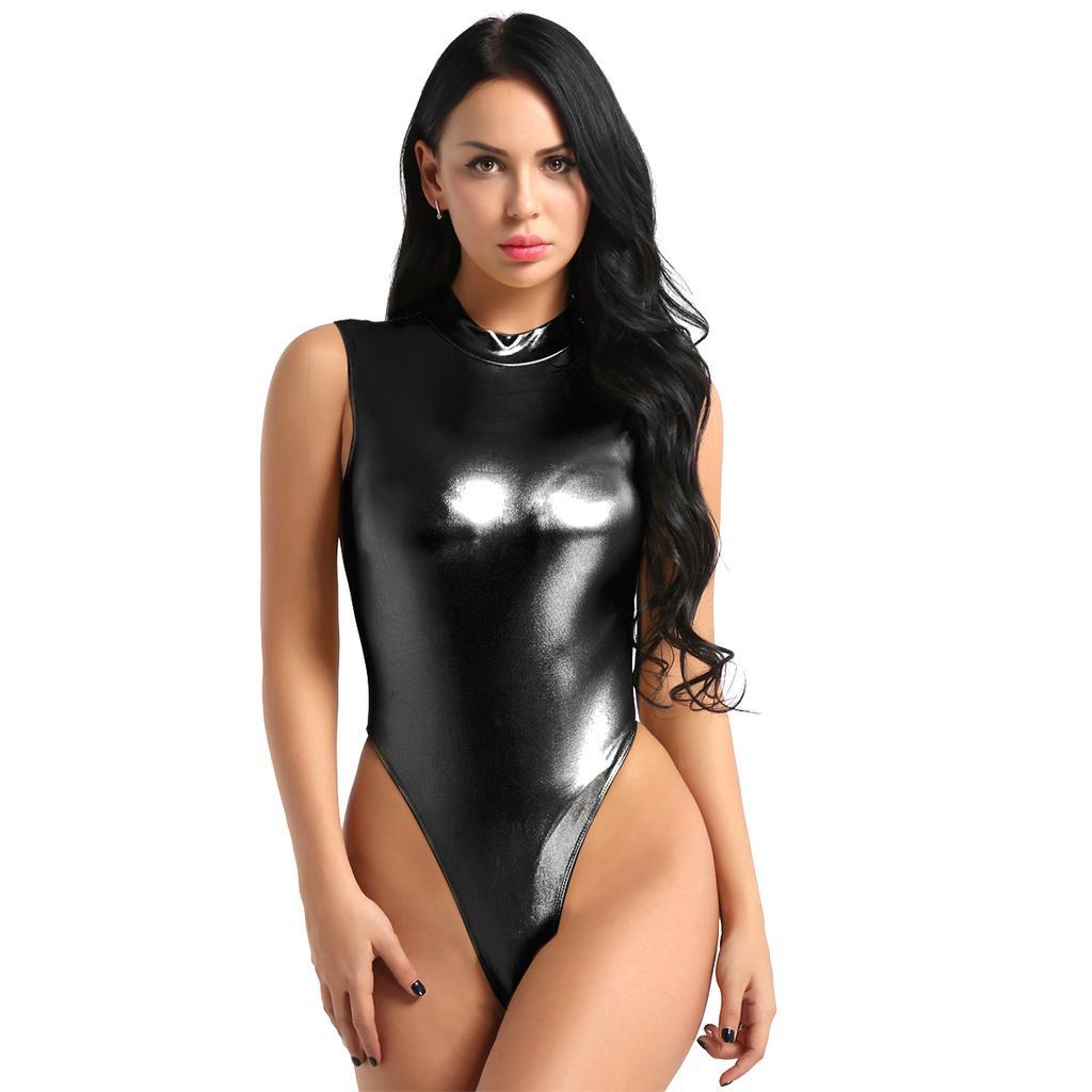 Womens Shiny Bodysuit Thong Leotard Catsuit Mock Neck Jumpsuit Rompers Sleepwear
