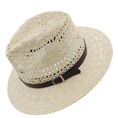 43fc61e09148b Adult Straw Panama Hats Sombrero Wide Brim Sunhat Fedora Trilby Summer Caps