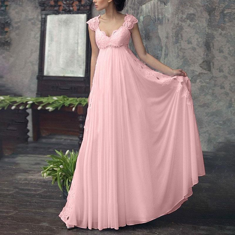 frauen kleid mode spitze sexy v hals solide hohe taille