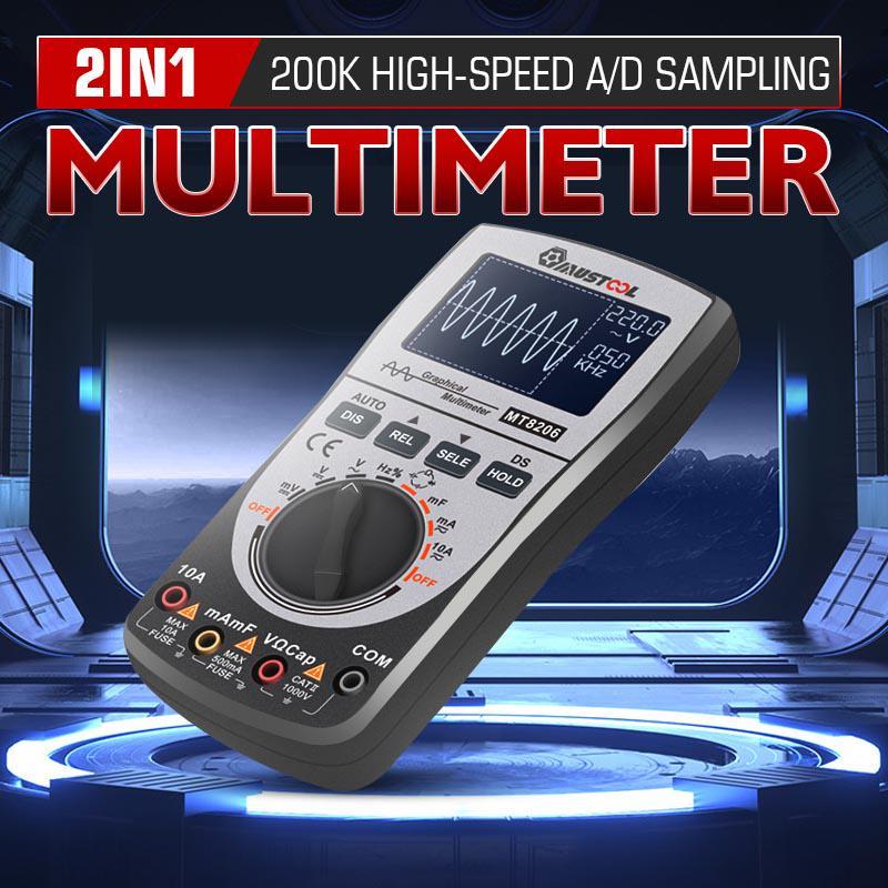 Upgraded 2 In1 Digital Handheld Oscillometer Multimeter Intelligent Tester AC//DC