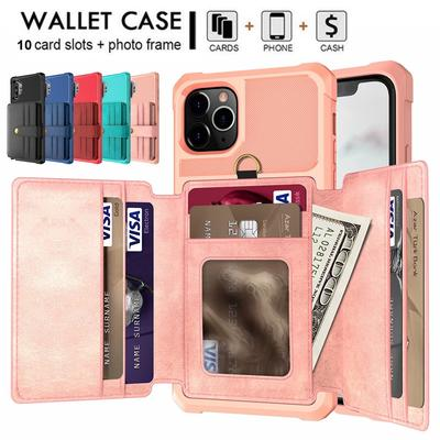 Luxury 10 Card Leather Wallet Flip Stand Cover For iPhone 12 Pro Max 12 Pro 12 Mini iPhone 11/11 Pro Max 7Plus / 8Plus / 6Plus