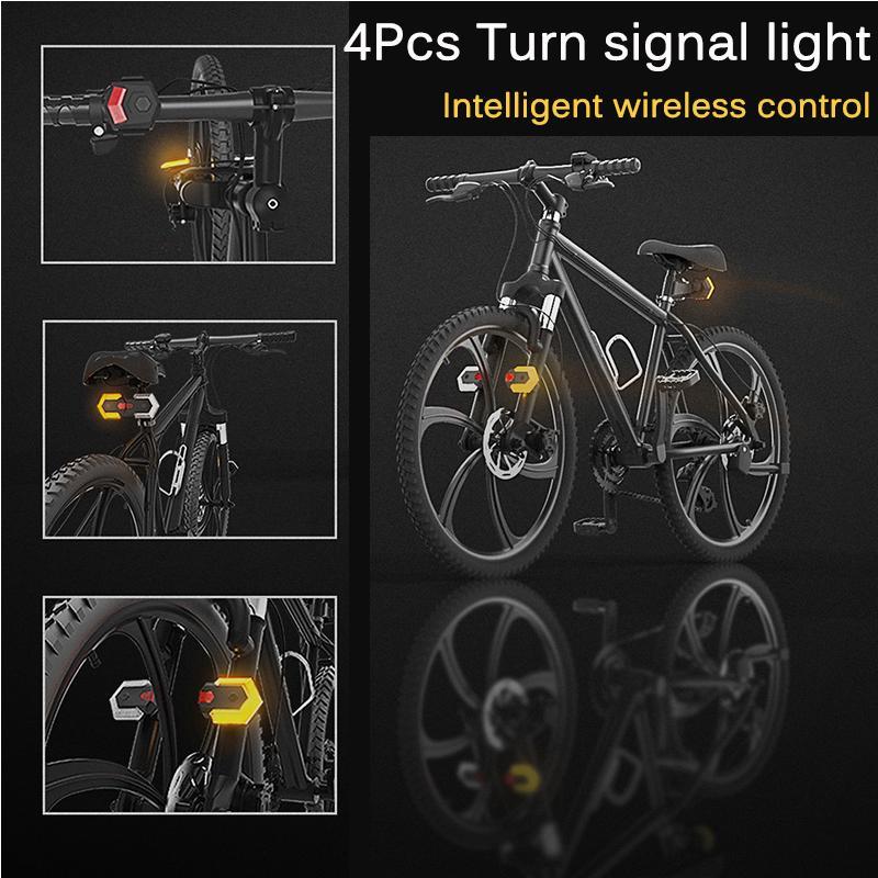 Universal Bike Light Turn Signals Front Rear Smart Remote Wireless LED Taillight