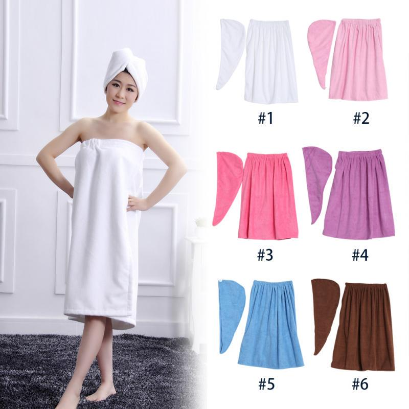 e6c081fad3 6 Colors Women Soft Spa Bath Body Wrap Set Practical Towel Bathrobe ...