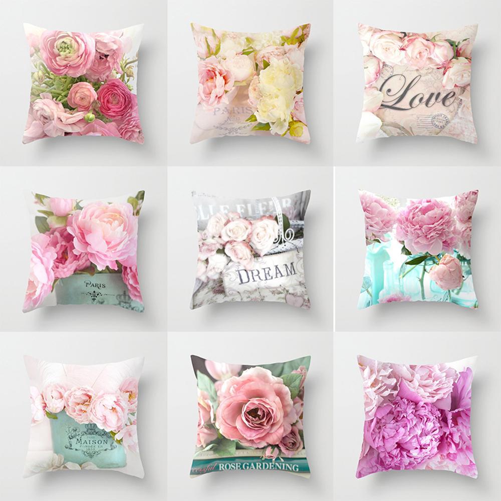 3D Rose Flower Pattern Pillowcase Cushion Cover Pillow Sofa Case Office Decor