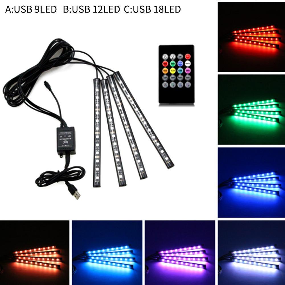 2 x 12 LED Car SUV Interior Footwell Floor Decor Atmosphere Light Neon Strip