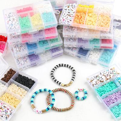 1100pcs Beads Kit Flat Round Polymer Clay CCB Charms Beads Jewelry Making Kit with Elastic Cord Box for DIY Bracelet Necklace
