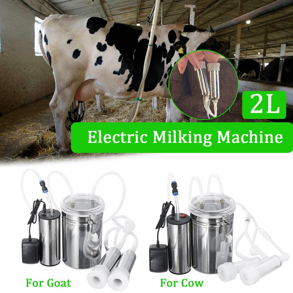 2L Double Head Electric Milking Machine Cow Sheep Goat Milker Stainless Barrel