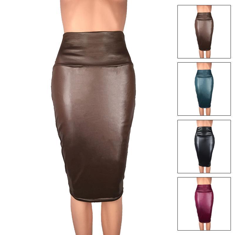 Women/'s Wetlook Mini Skirt Leather Clubwear OL  High Waist Pencil Skirt Bodycon
