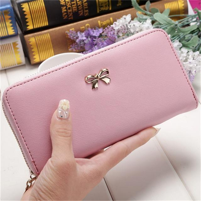 时尚女子3D蝴蝶结装饰长钱包女性便携式皮革手提包钱包