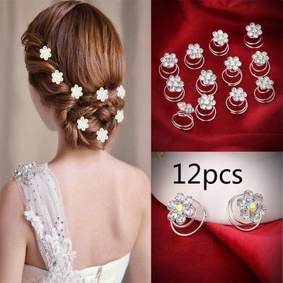12PCS  Rhinestone Flower Bridal Wedding Hair Pins Hairgrips Hairclips Hairpin Hair Accessories