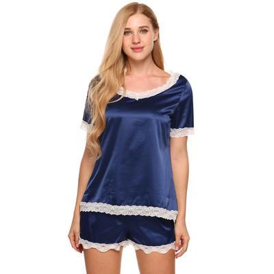 4f2ec2b66c Las mujeres pijamas de Satén ajustado con cuello en v manga corta encaje  Top y Shorts