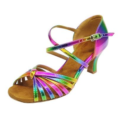 Ballroom heeled Salsa tango latin dance shoes children girls women multi colors